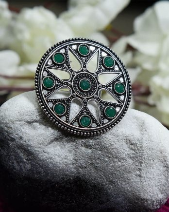 Classy Dual Tone Floral Green Stone Adjustable Ring