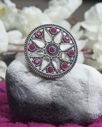 Classy Dual Tone Floral Pink Stone Adjustable Ring