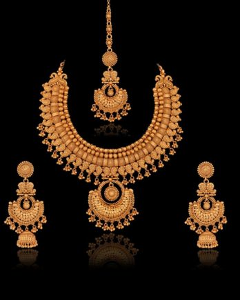 Gold Plated Bridal Necklace Set with Maang Tikka